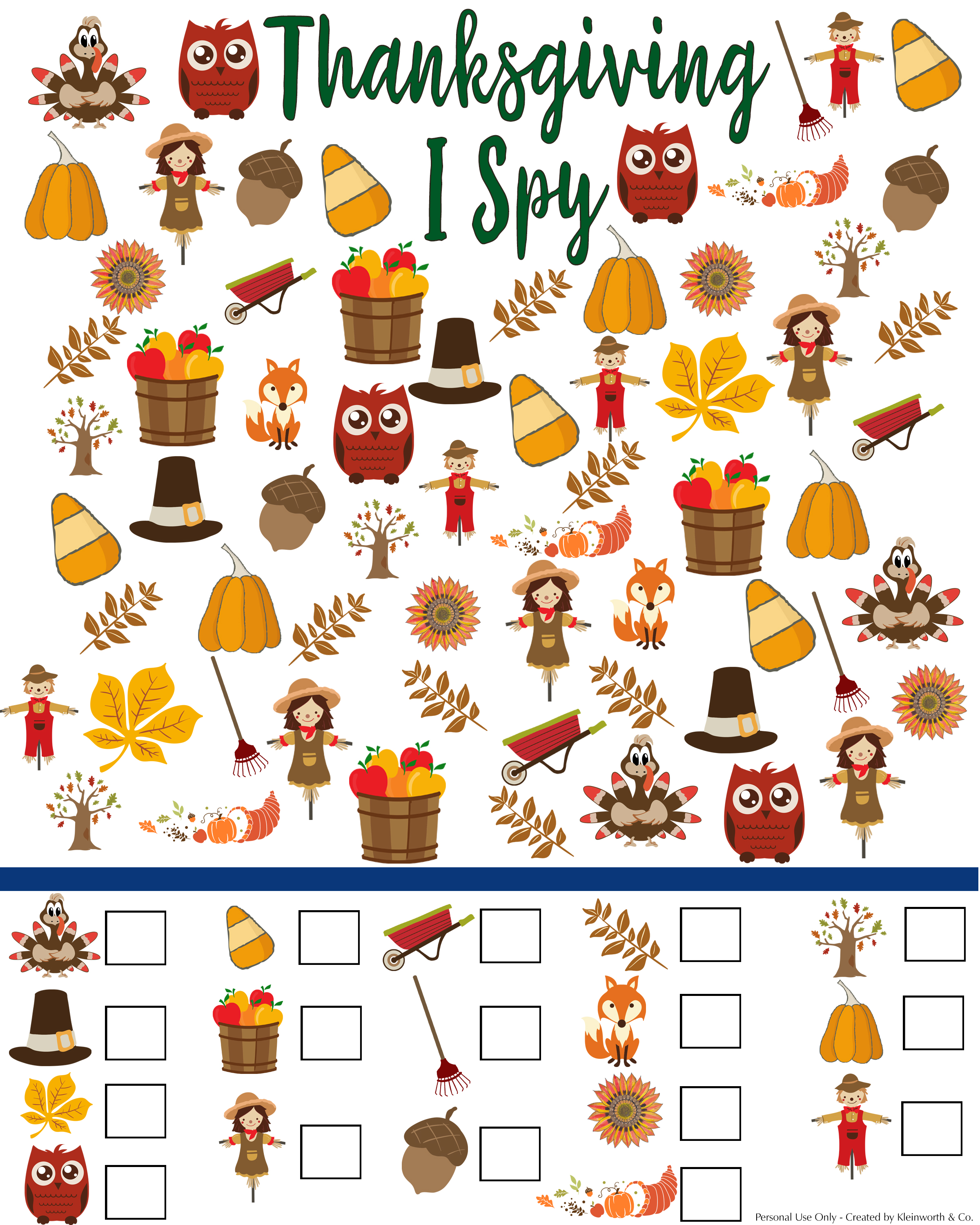 Free Thanksgiving I Spy Printable