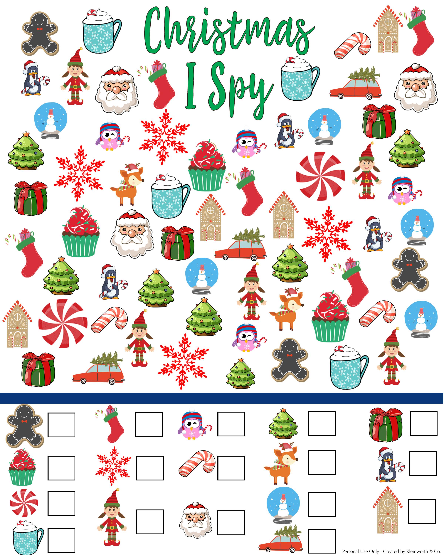 I Spy Worksheet Free Printables Christmas