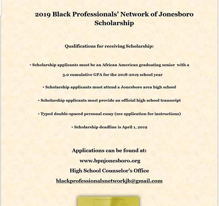 2019 Black Professionals' Network of Jonesboro Scholarship