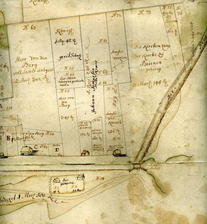 Die Spoyschleuse im Jahre 1757. Ausschnitt einer Karte der Deichschau Kleverhamm des Landmessers Johann Heinrich Merner (Bild: Stadtarchiv Kleve)