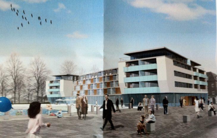 Frühe Visualisierung des Hotels Rilano, links die Marina – so ähnlich wurde es dann ja auch umgesetzt