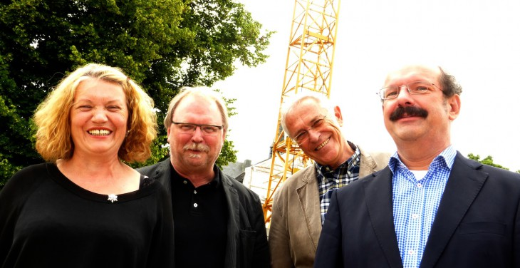 Die vier von der Baustelle: Mayer-Wilmes, Bay, Cosar, Gebing, so richtig gut gelaunt! (Foto © Philip Janßen)