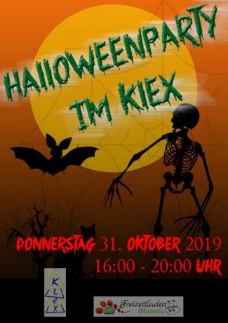 Forderseite des Flyers zur Halloweenparty im KLEX