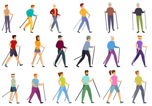 Eine Vielzahl an unterschiedlich aussehenden Menschen, die gemeinsam Nordic Walking betreiben