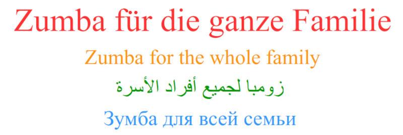 Zumba für die ganze Familie in verschiedenen Sprachen
