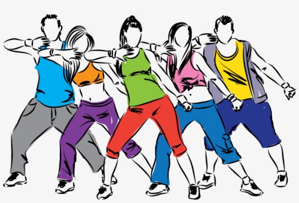 Personen verschiedener Geschlechter tanzen Zumba