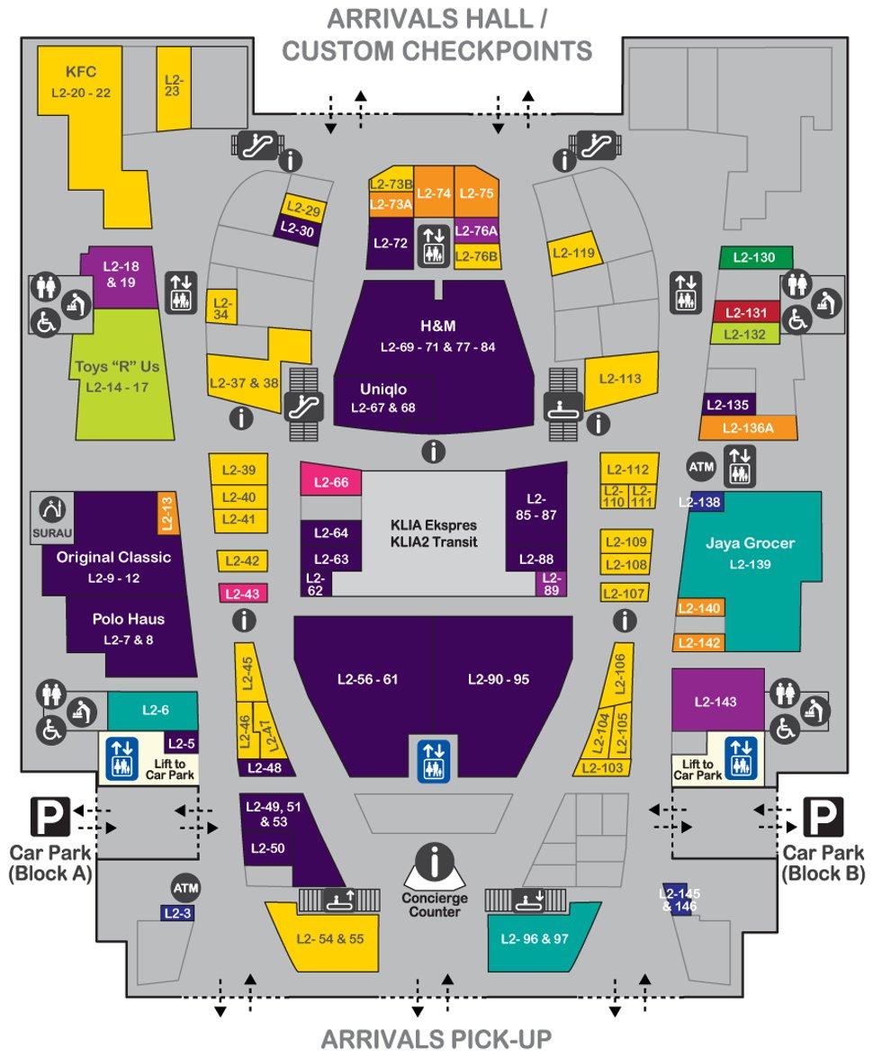 Layout plan, level 2 of gateway@klia2 Mall