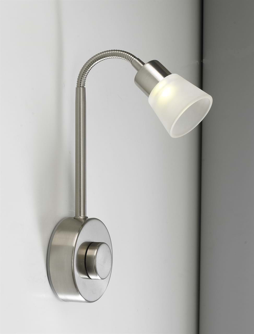 Sycamore Led Bedside Wall Light In Brushed Nickel Sy7307 K Lighting Supplies