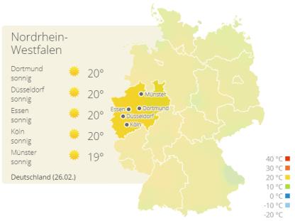 Wetterkarte NRW am 26.02.2019