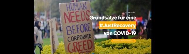 """""""Menschliche Bedürfnisse vor unternehmerischer Gier"""" / Quelle: 350.org"""