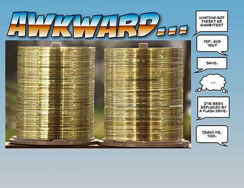 Cartoon showing two stacks of CD-ROMs mulling over their fate.
