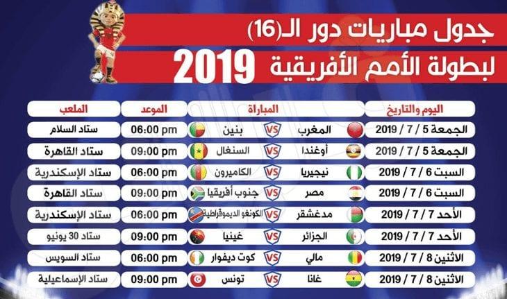 موجهات دور 16 كأس أمم إفريقيا و أسماء المنتخبات المتأهلة