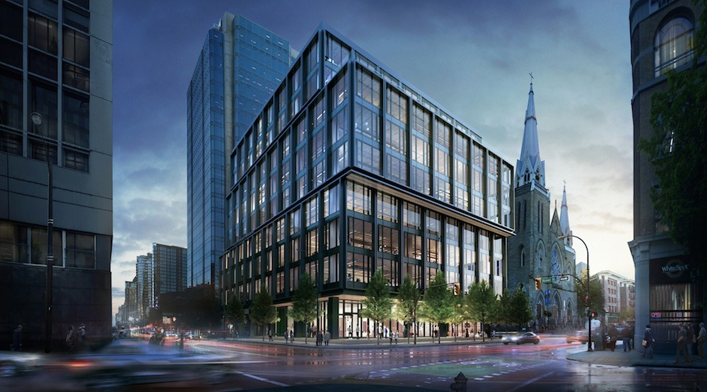 A rendering of the new Amazon office at West Georgia St, Vancouver