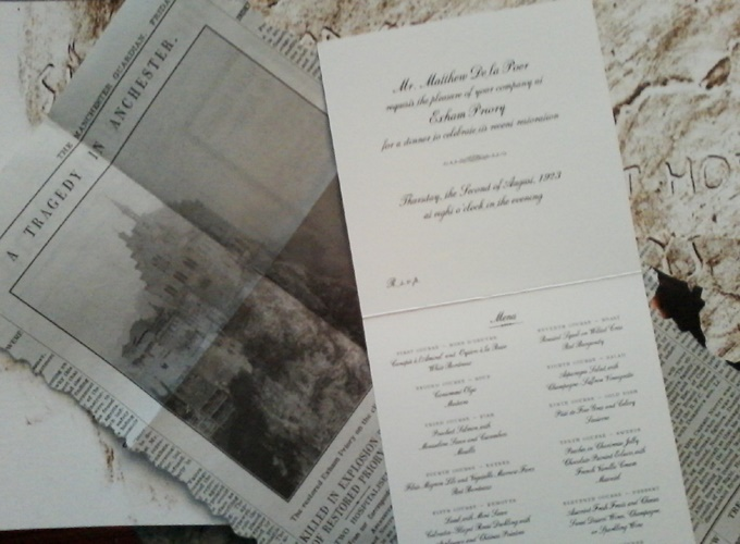 Exham Priory article and dinner menu