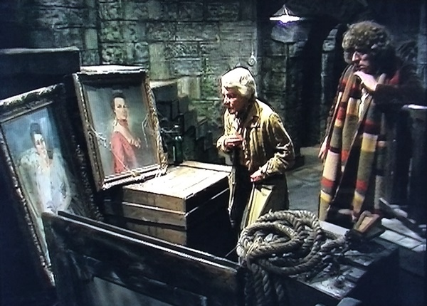 Prof. Rumford and the Doctor look at portraits