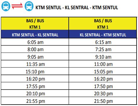 KTM KL Sentral to Sentul train station schedule 2018