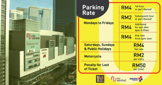 NU Sentral mall parking rates KL Sentral