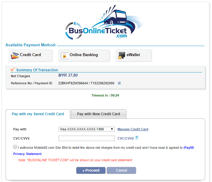 BusOnlineTicket pay with credit card