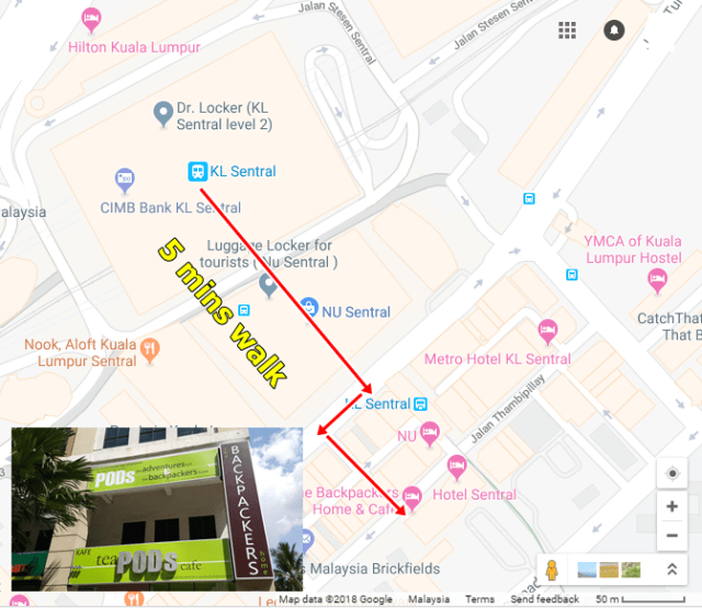 KL Sentral to PODs Backpacker home and cafe hotel route map