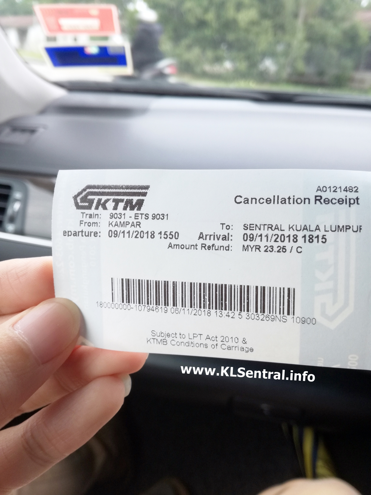 ETS ticket cancellation receipt