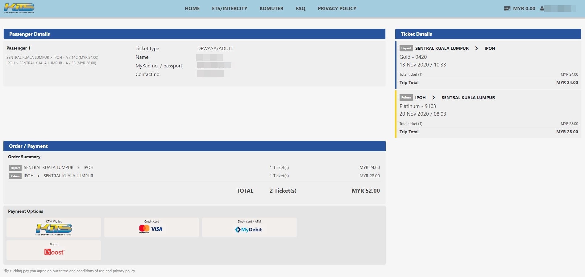 KITS ETS payment page