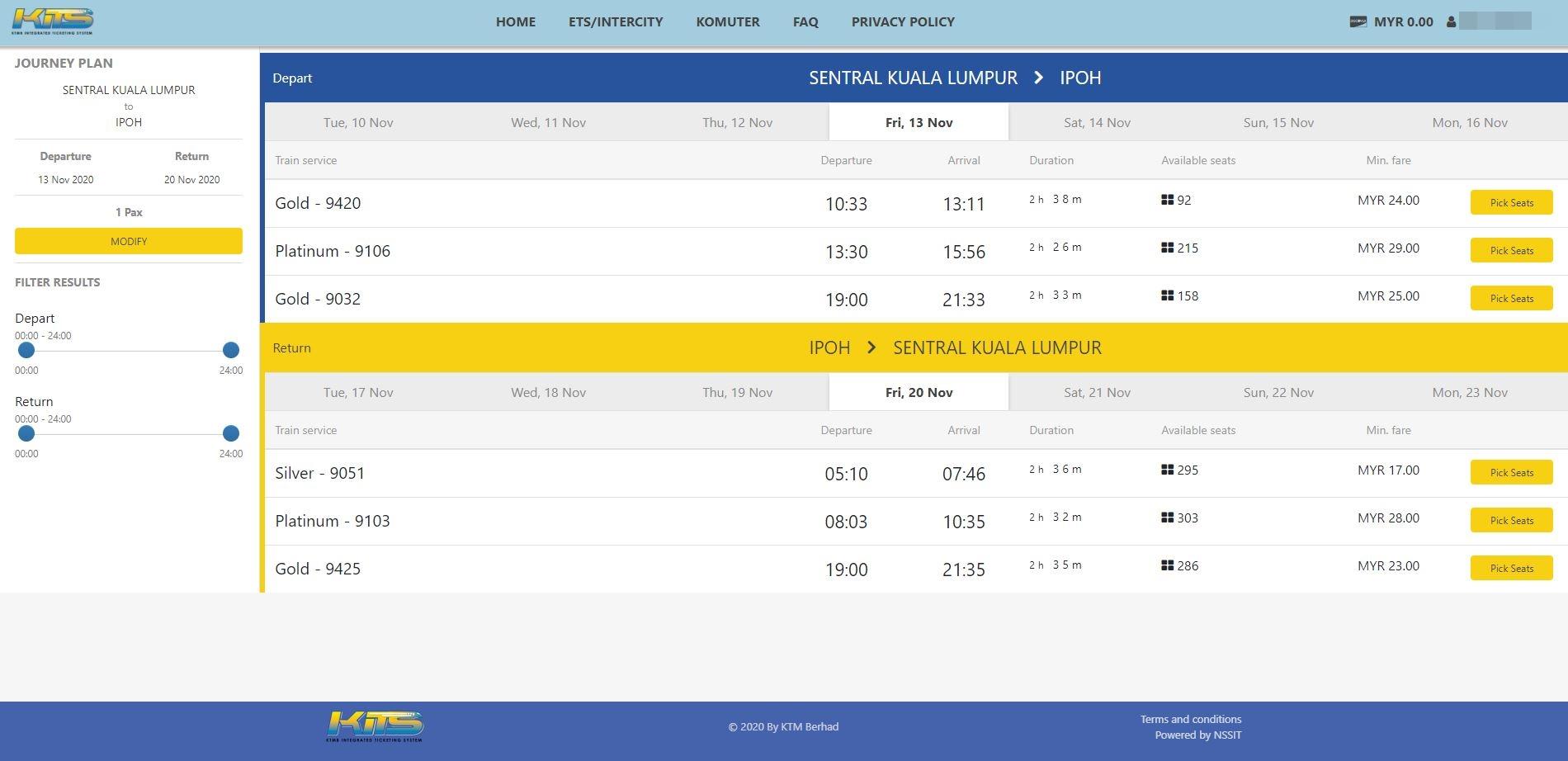 Train schedule pick KITS ETS train booking