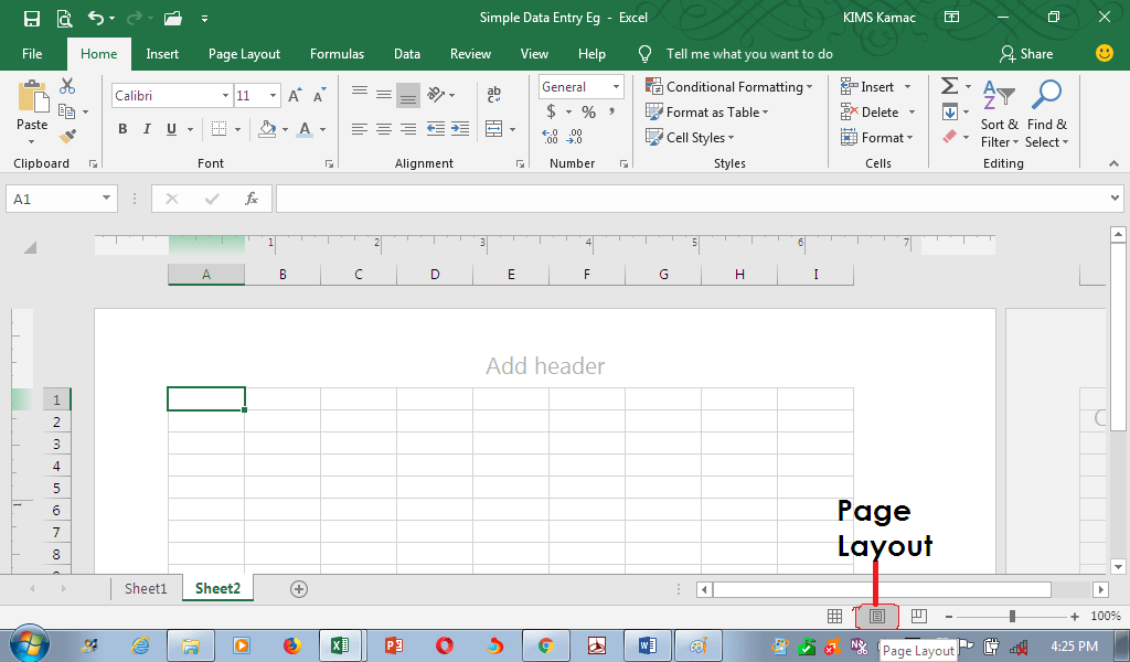 MS Excel: Page layout view