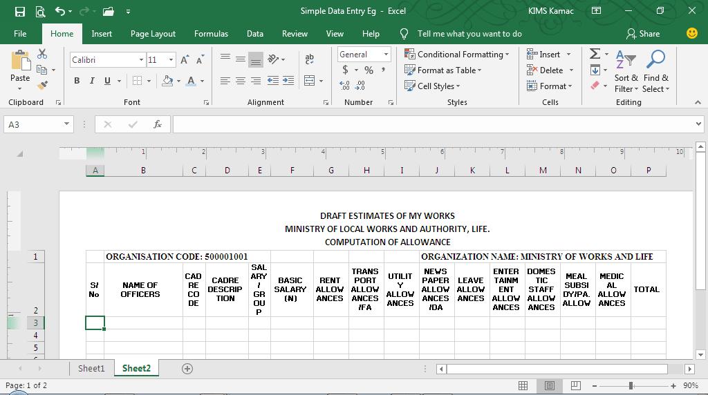 data entry{ formatting and customization