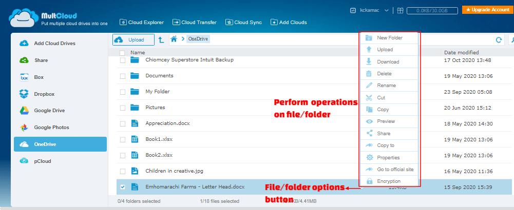 Multcloud - file operations