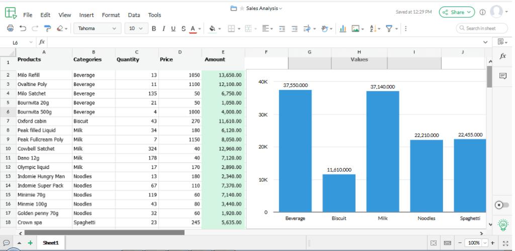 Zoho sheet - a free spreadsheet software