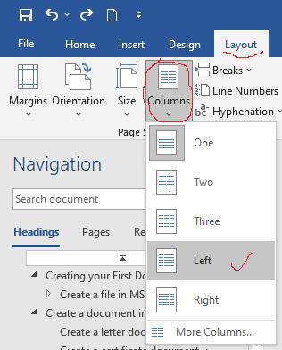 creating columns in Microsoft Word