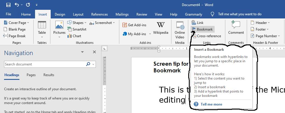 microsoft word ribbon screen tip