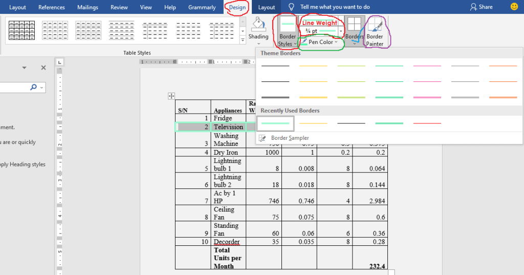 apply border styles to tables