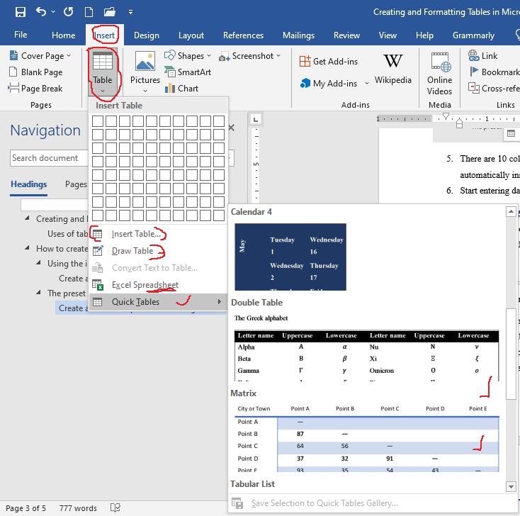 creating preset table in word