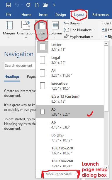 paper size setup - Microsoft word tutorial