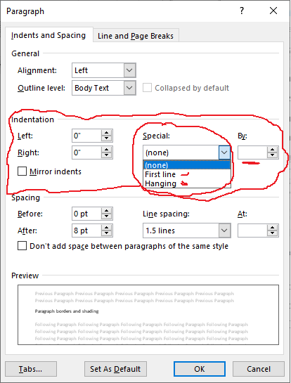 Applying indentation in word using a dialog box