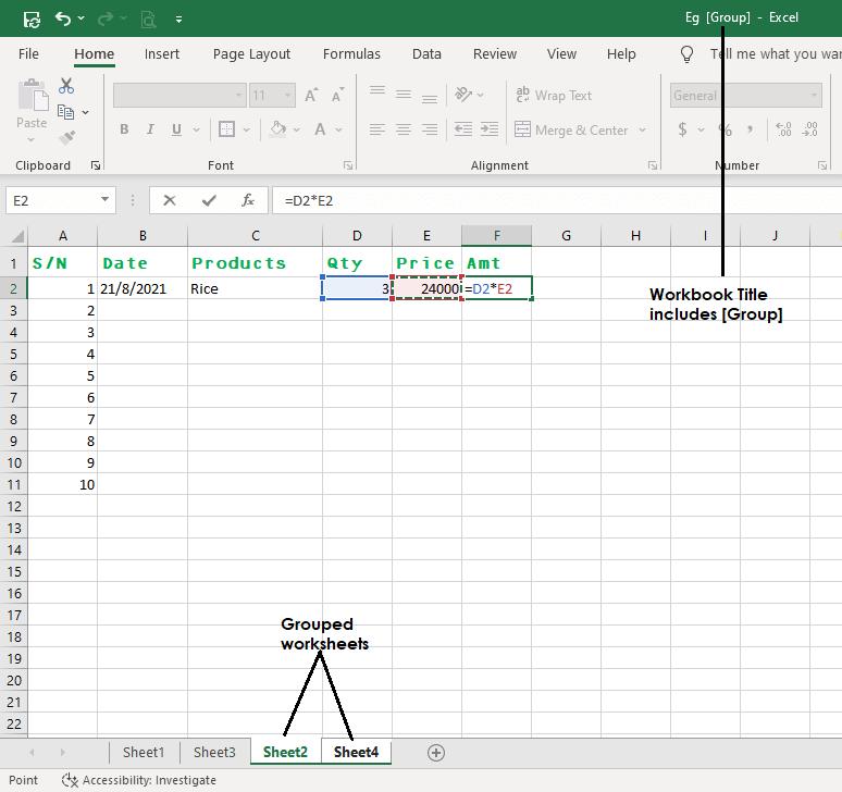 group worksheets in excel