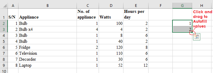 data entry in excel using manual autofill