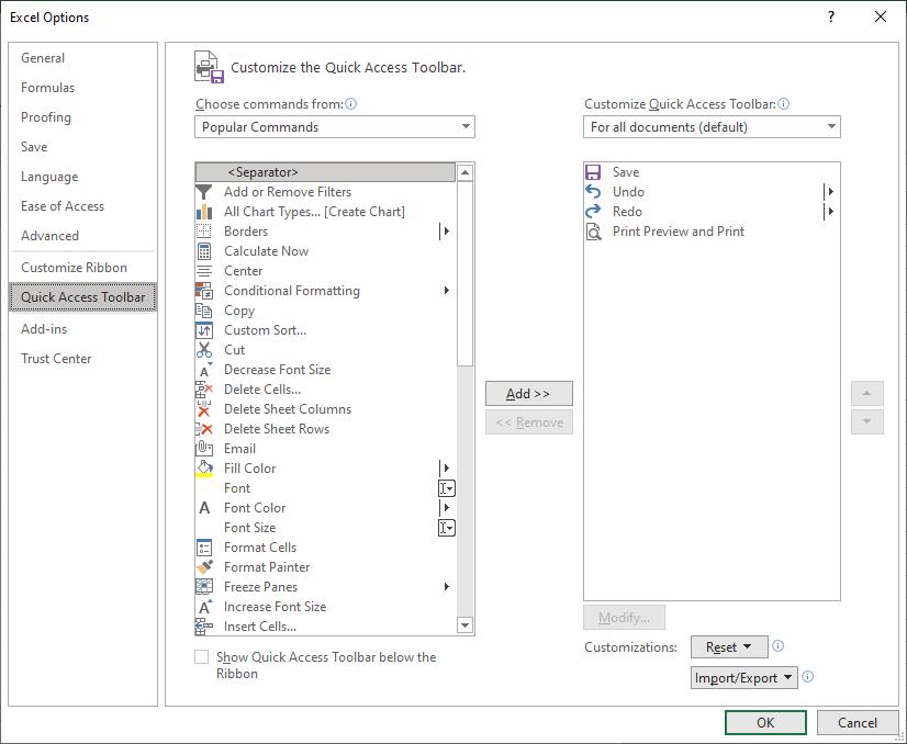 Customize QA toolbar in excel