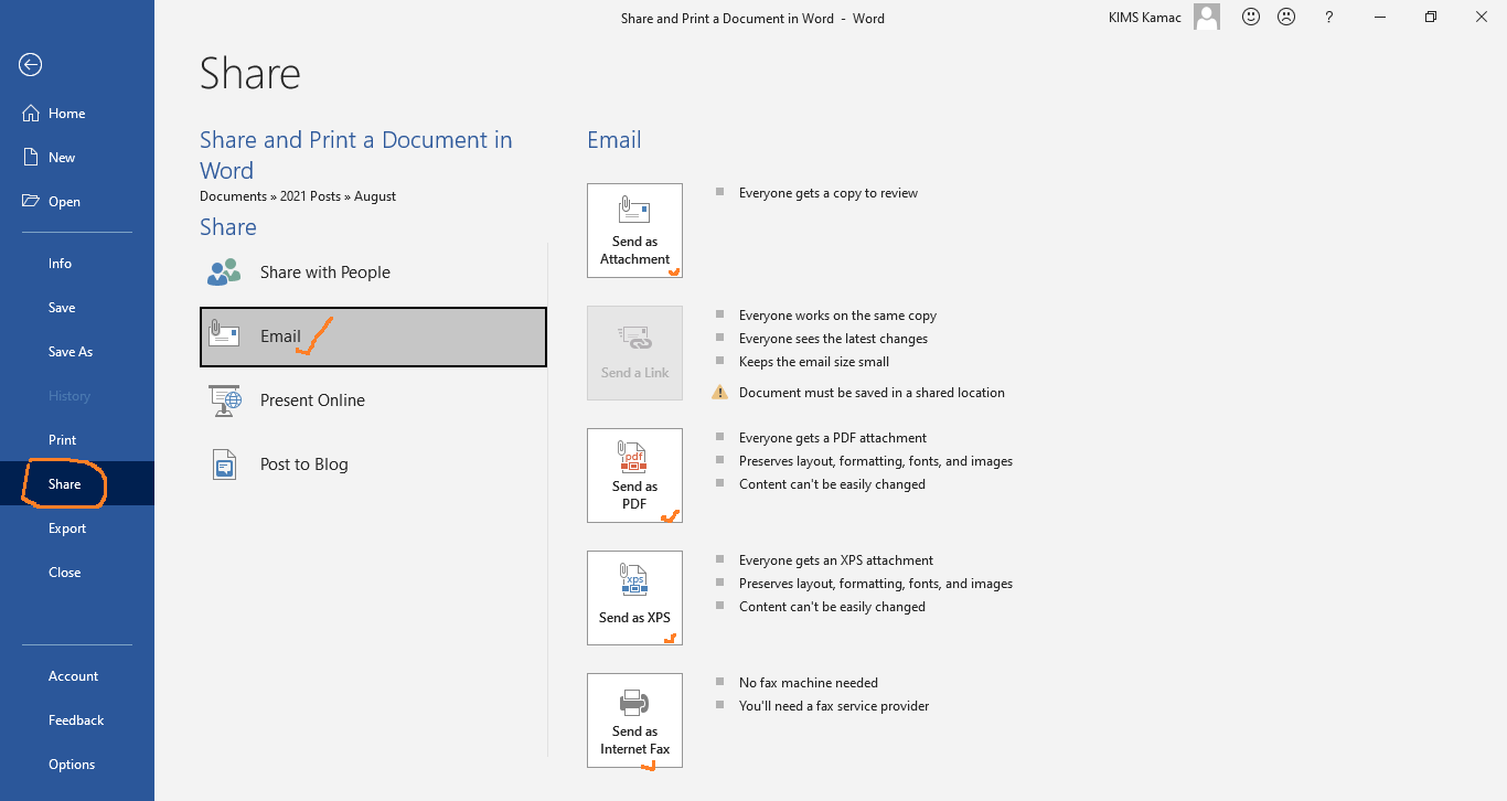 email options in word
