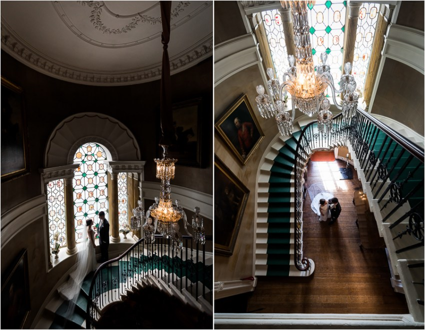 couple on the staircase at ripley castle