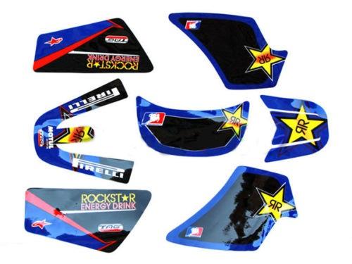 kit deco stickers rockstar bleu pw50