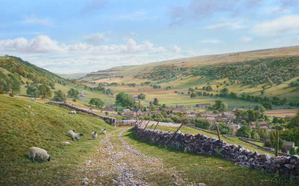 Starbotton from the Walden Track - Yorkshire Dales. Painting- Keith Melling