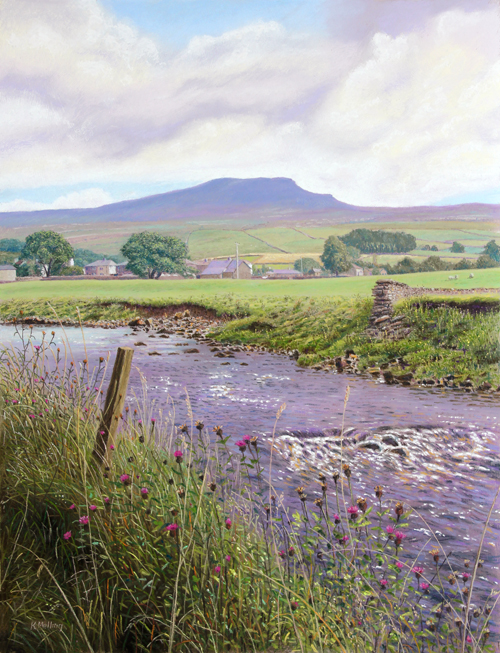 Penyghent and River Ribble at Horton-in-Ribblesdale - Yorkshire Dales. Painting: Keith Melling
