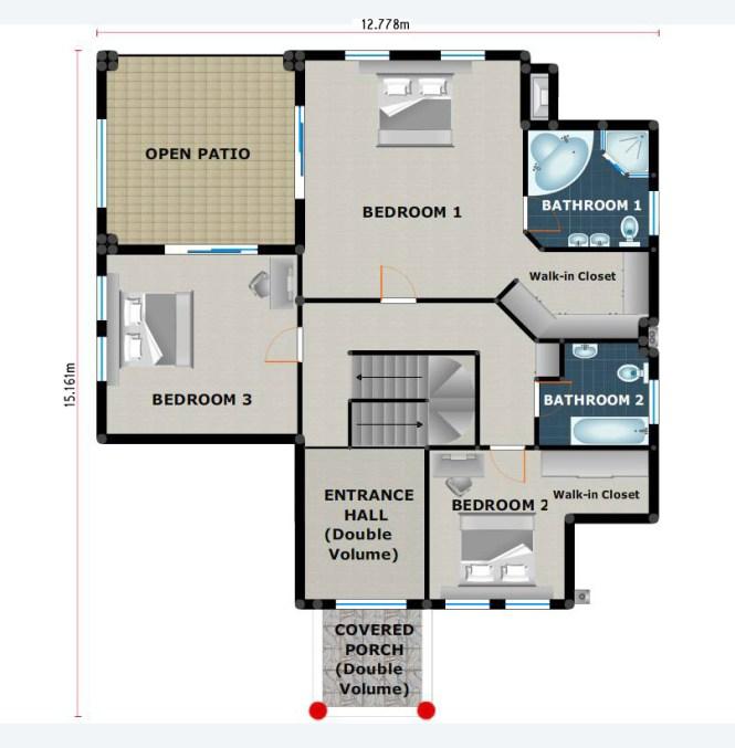 House Plan Pl0022c Floorplan Ground Upper