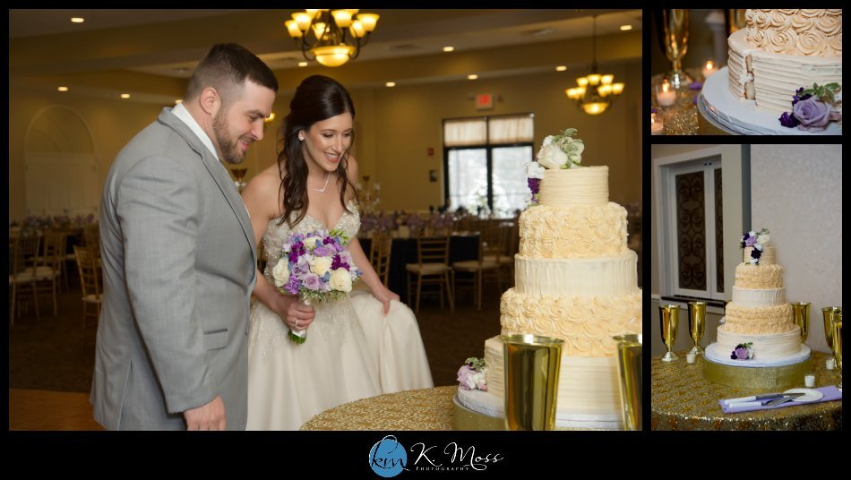 reading pa wedding photographer - berks county wedding photographer - wedding photography in berks county - capriottis mcadoo wedding photographer - bride and groom first look - bride and groom winter photos - wedding photos in snow - yellow gold wedding cake - three tier wedding cake