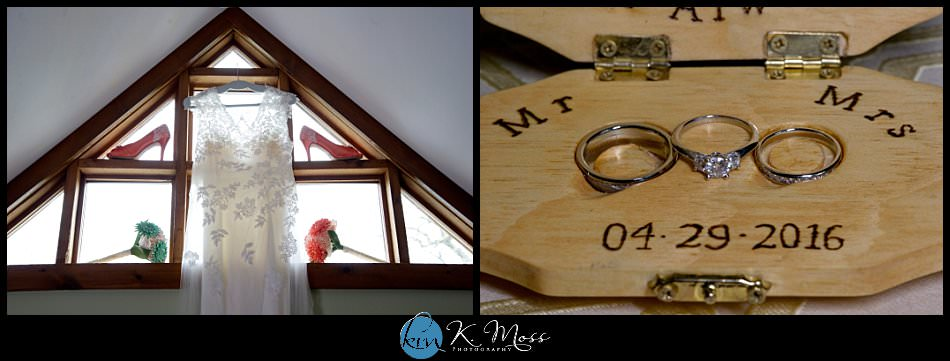 blackhorsevideography-ellen wren shoes - coral lace wedding shoes - pearl necklace - custom ring box - wedding rings - stroudsburg pa wedding photographer - spring wedding - april wedding