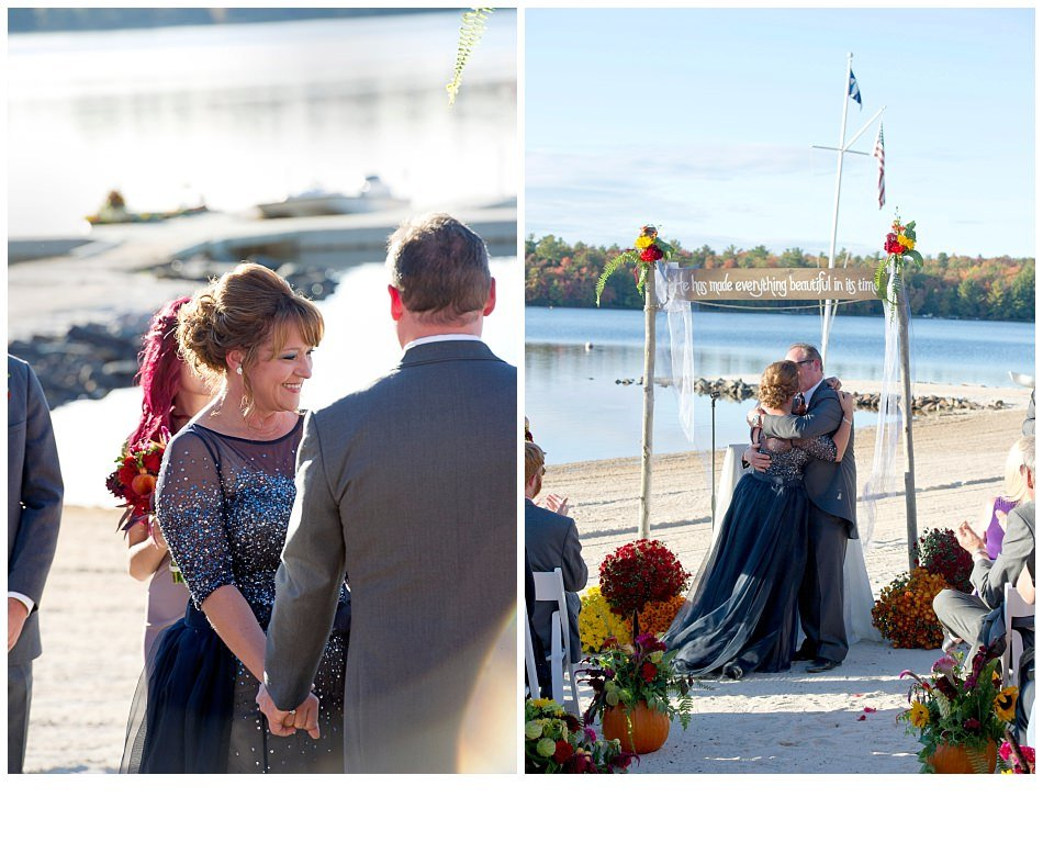 Lake Naomi PA ceremony on beach| k moss photography