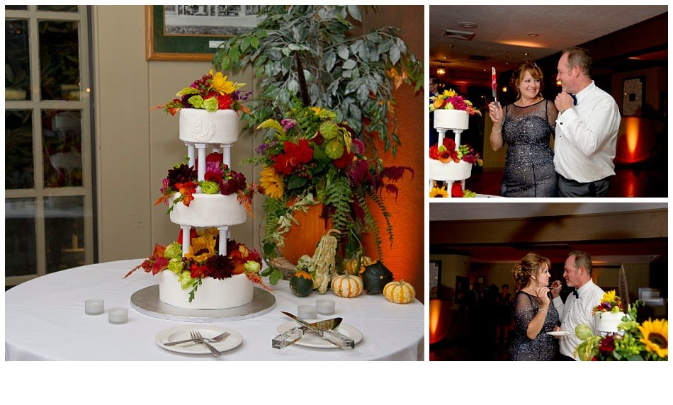 Fall three tier wedding cake| k moss photography