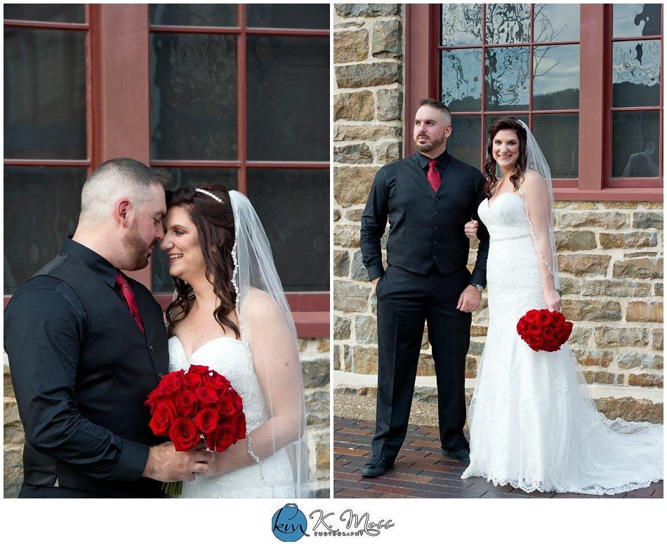 bride and groom formal photos - outdoor photos of wedding couple - - Steelstacks Bethlehem wedding | K. Moss Photography